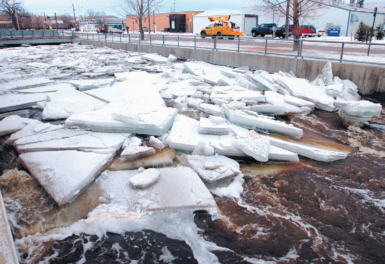 Ice jam near Gould Street bridge, January 9, 2009. Photo courtesy of The Sheridan Press.